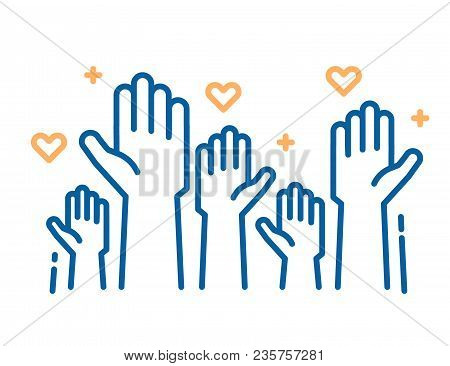 poster of Volunteers And Charity Work. Raised Helping Hands. Vector Thin Line Icon Illustrations With A Crowd
