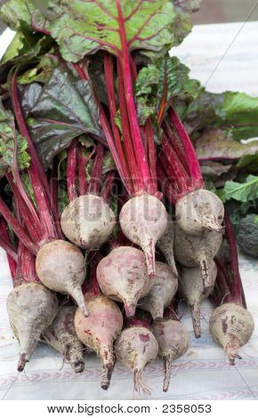 Fresh Beets With Leaves At The Local Market