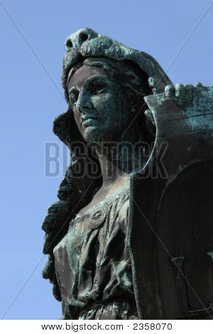 Bronze Woman With Shield