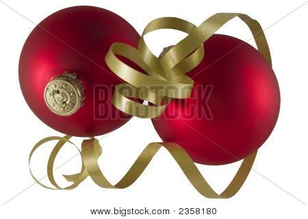 Red Spheres With Red Ribbon