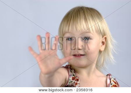Little Girl Analyzing Her Palm