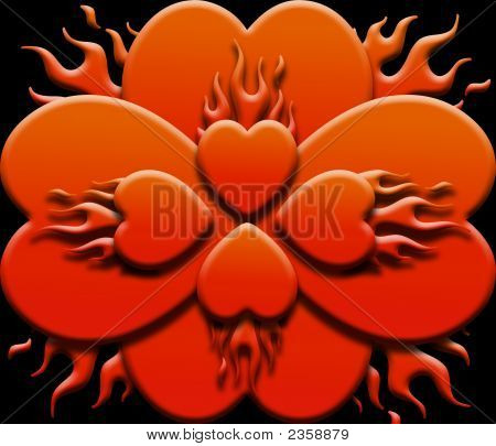 Flaming Red Hearts