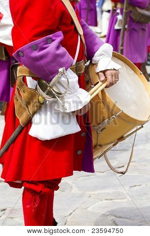 Troop of soldiers in training during the re-enactment of the War of Succession. September 4, 2010 in Brihuega, Spain
