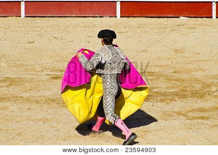 Torero and bull in bullfight. Madrid, Spain.