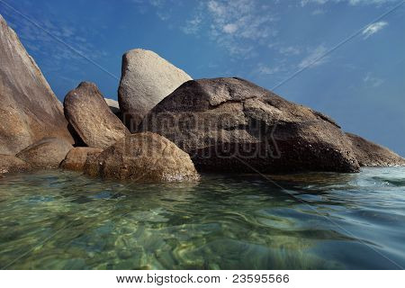 granite stone on beach