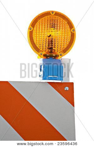 Barricade and Warning Light Closeup on Isolated White Background