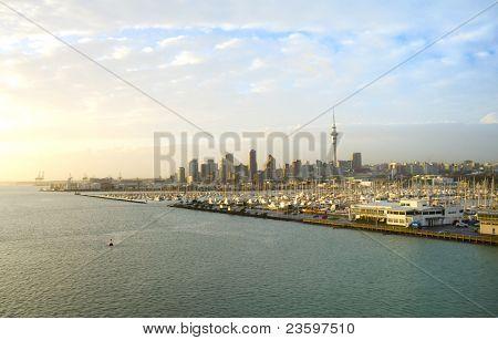 Auckland city at sunrise light