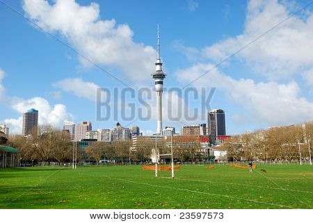 Modern city view with sky tower and blue sky background, Auckland, New Zealand