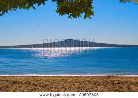 Rangitoto Island with view from the Mission Bay, Auckland, New Zealand