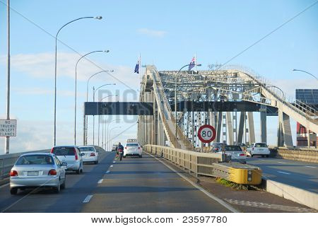 traffic on Auckland Harbor bridge, New Zealand