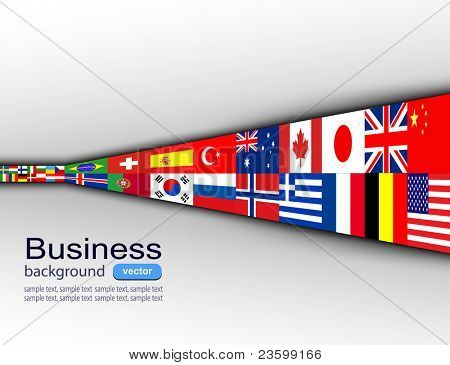Business background with international flags, vector