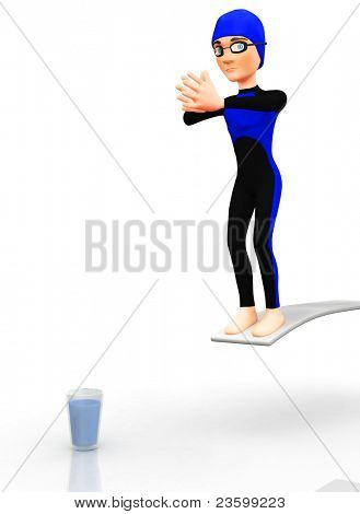 3D man diving into glass of water - isolated over a white background