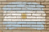 Flag Of Argentina On Grunge Brick Wall Painted With Chalk