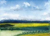 Watercolor Painting Of Summer Landscape With Mountains, Blue Sky, Clouds, Green Glade. Abstract Hand poster