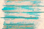 Beach Background - Top View Of Beach Sand On Old Wood Plank In Blue Sea Paint Background. Summer Vac poster