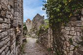 Ancient Stone Ruins And Clock Tower At Old Bar Town, Montenegro. Stari Bar - Ruined Medieval City On poster