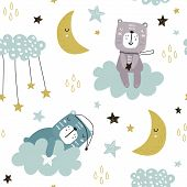 Seamless Childish Pattern With Cute Bears On Clouds, Moon, Stars. Creative Scandinavian Style Kids T poster