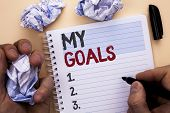Text Sign Showing My Goals. Conceptual Photo Goal Aim Strategy Determination Career Plan Objective T poster