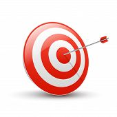 Target With Arrow. Business Success Concept. Vector Flat Target Isolated Icon. poster