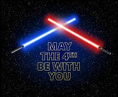 May The 4th Be With You. Two Crossed Light Sabers And Text: Vector Illustration poster