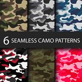 Set Of 6 Pack Camouflage Seamless Patterns Background With Black Shadow. Classic Clothing Style Mask poster