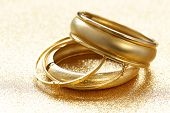 Gold Fashion, Jewelry Bracelets On Gold Background poster