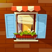 House Facade Vector Illustration Of Window With Wooden Shutters, Sunblind Awning And Flowerpot. Mode poster