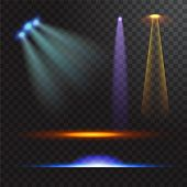 Vector Illustration Of Light Sources, Concert Lighting, Stage Spotlights Set. Concert Spotlight With poster