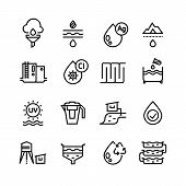 Effluent Water Treatment. Water Purification Linear Vector Icons. Illustration Of Purification Sewer poster