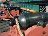 image of uss constitution  - Rows of canon on the USS Constitution war ship - JPG