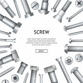 Construction Shop Advertising Banner With Realistic Metallic Bolts And Screws. Hardware Store Poster poster