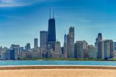 Chicago Downtown Skyline And The Blue Sky poster