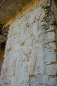 Ancient Mayan Carved Relief With In Temple Ruins. The Famous Archaeological Complex. Mayan Ruins In  poster