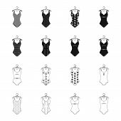 Different Kinds Of Swimsuits. Swimsuits Set Collection Icons In Black, Outline Style Vector Symbol S poster