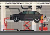 Car At Hydraulic Scissor Lifting Platform. Mechanic At Garage Or Vehicle Repair Station. Automobile  poster