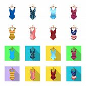 Different Kinds Of Swimsuits. Swimsuits Set Collection Icons In Cartoon, Flat Style Vector Symbol St poster