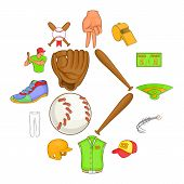 Baseball Icons Set In Cartoon Style. Softball Equipment Set Collection Vector Illustration poster