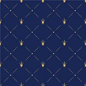 Princess Crown. Seamless Repeating Pattern. Diadem Princess Isolated On Blue Background. Vector Illu poster