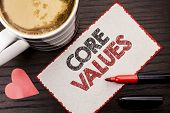 Text Sign Showing Core Values. Conceptual Photo Principles Ethics Conceptual Accountability Code Com poster