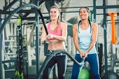 Low-angle view of two beautiful and strong women smiling while waving heavy battle ropes during func poster