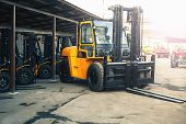 Reliable Heavy Loader, Forklift Truck. Heavy Duty Equipment Background poster