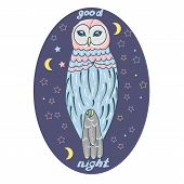 Good Night Card With Sleeping Moon And Cute Owl. Vector Illustration. Owl In The Night Of The Star.  poster