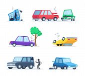 Vector Pictures Set Of Different Accidents On The Road. Big Damage Of Cars. Illustration Of Vehicle  poster