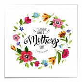 Elegant Lettering Happy Mothers Day In Flower Frame. Happy Mothers Day Card. Vector Floral Wreath Wi poster