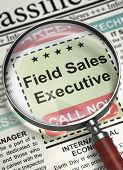 Field Sales Executive. Newspaper With The Vacancy. Newspaper With Advertisements And Classifieds Ads poster