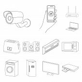 Smart Home Appliances Outline Icons In Set Collection For Design. Modern Household Appliances Vector poster