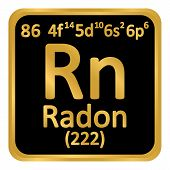 Periodic Table Element Radon Icon On White Background. Vector Illustration. poster