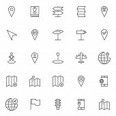 Location And Navigation Outline Icons Set. Linear Style Symbols Collection, Line Signs Pack. Vector  poster