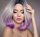 Ombre Bob Short Hairstyle. Beautiful Hair Coloring Woman. Trendy Haircuts. Blond Model With Short Sh poster