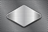Rhombus Brushed Metal Plate On Perforated Texture. With Rivets. Vector 3d Illustration poster